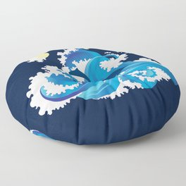 Big Waves and Dolphins Floor Pillow