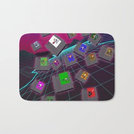 Retro 80s Synthwave Game Cartridge Collage Bath Mat