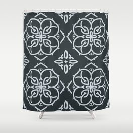 Decorative Floral Pattern 22 - Outer Space Blue, Geyser Silver Blue Shower Curtain