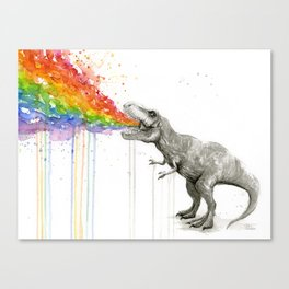T-Rex Dinosaur Rainbow Puke Taste the Rainbow Watercolor Canvas Print