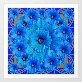 CERALIAN BLUE HOLLYHOCKS ART DECO ABSTRACT Art Print