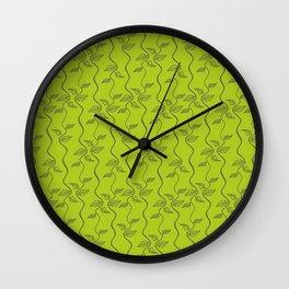 Bright green leaves pattern. Wall Clock