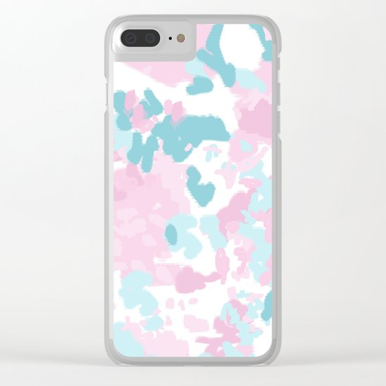 Cruz - abstract painting pastel pink and blue minimal modern decor for office home Clear iPhone Case