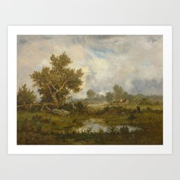 RICHET, LÉON (Solemes 1847 - 1907 Paris) Woman gathering brushwood near a pond. 1873. Art Print