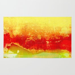 Vibrant Yellow Sunset Glow Textured Abstract Rug
