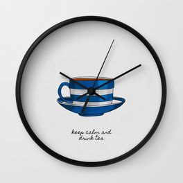 Keep Calm & Drink Tea, Tea Quote, Retro Wall Clock