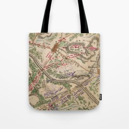Vintage Map of The Battle of Chantilly (1865) Tote Bag