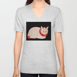 Shotei Takahashi White Cat In Red Outfit Black Background Vintage Japanese Woodblock Print Unisex V-Neck