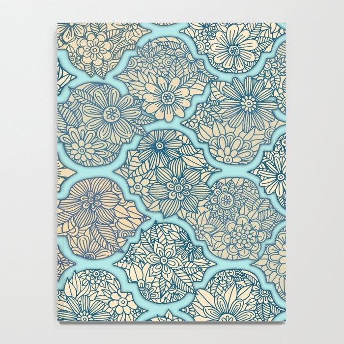 Moroccan Floral Lattice Arrangement - aqua / teal Notebook