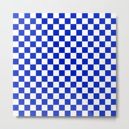 Cobalt Blue and White Checkerboard Pattern Metal Print