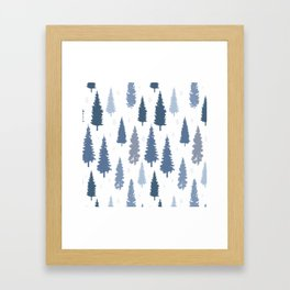 Pines and snowflakes pattern Framed Art Print