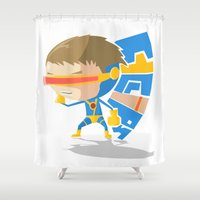x men Shower Curtains featuring X- Men - Cyclops (Style) by Seez