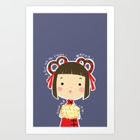 A Girl with Her Flowers-Xiao Xien Art Print