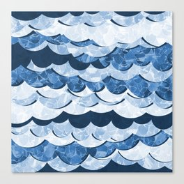 Abstract Blue Sea Waves Design Canvas Print
