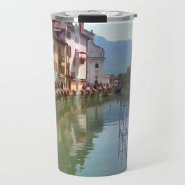 Riverside Village in Springtime Travel Mug