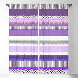 Purple Mixed Pattern With Stripes and Polka Shots Blackout Curtain