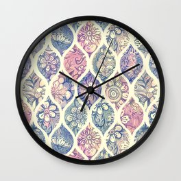 Patterned & Painted Floral Ogee in Vintage Tones Wall Clock