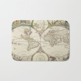 Vintage Map of The World (1680) Bath Mat
