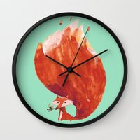 kitsune Wall Clocks featuring Kitsune (Fox of fire) by Picomodi