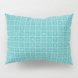 Airport Symbols • Travel and Transportation Theme Graphic Design • Turquoise Pillow Sham