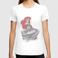 tim burton T-shirts featuring If the little mermaid was drawn by Tim Burton by Collin Durden