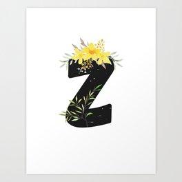 Letter Z - Botanical English Alphabet, Name Initial Art Print