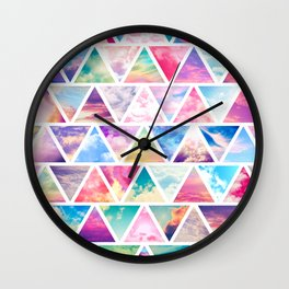 Pink Clouds Teal Sky Abstract Triangles Pattern Wall Clock