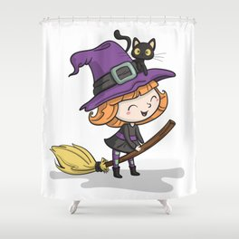 Cute Halloween Witch illustration Shower Curtain