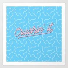 Crushin It Blue Squiggles /// www.pencilmeinstationery.com Art Print