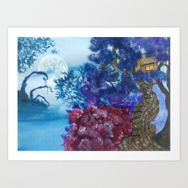 Treehouse and the other side Art Print