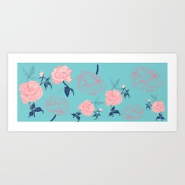 Vintage roses and peonies with indigo palette Art Print