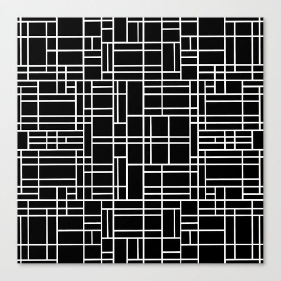 Map Outline White on Black Canvas Print