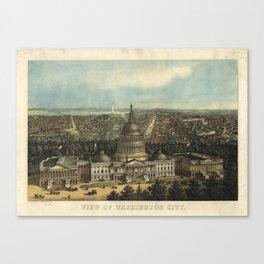 Vintage Pictorial Map of Washington D.C. (1871) Canvas Print