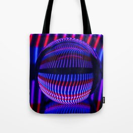 Red and Blue in the glass ball Tote Bag