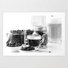 Black and white coffee bar Art Print