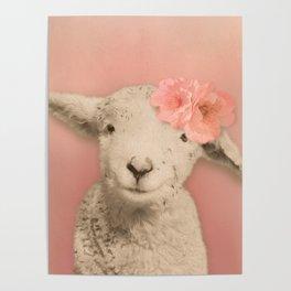 Flower Sheep Girl Portrait, Dusty Flamingo Pink Background Poster