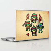 teenage mutant ninja turtles Laptop & iPad Skins featuring Teenage Mutant Ninja Turtles Pizza Party by chobopop