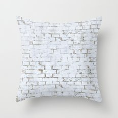 Vintage White Brick Wall Throw Pillow