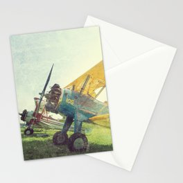 Preflight Biplane // Antique Airplanes Stationery Cards