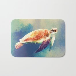 Sea Turtle Painting Bath Mat