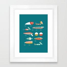 Fishing Lures Blue Framed Art Print