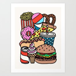 Junk Food by Swirvington Art Print