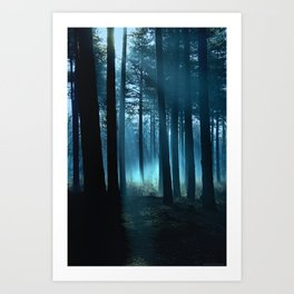 Haunted forest- winter mist in forest Art Print