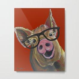 Pig With Glasses, Cute Pig, Farm Animal Metal Print
