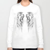 lions Long Sleeve T-shirts featuring Lions by Libby Watkins Illustration