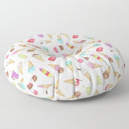 Scattered Ice Creams and Ice Lollies Floor Pillow