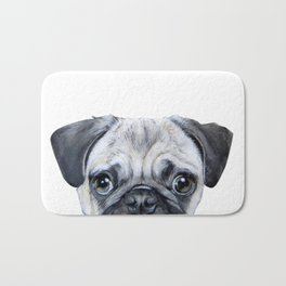 pug Dog illustration original painting print Bath Mat