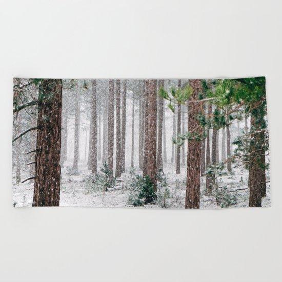 Snow #woods Beach Towel