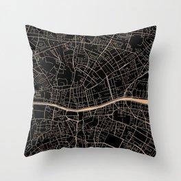 Gold and black Dublin map Throw Pillow