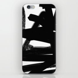 Thinking Out Loud - Black and white abstract painting, raw brush strokes iPhone Skin